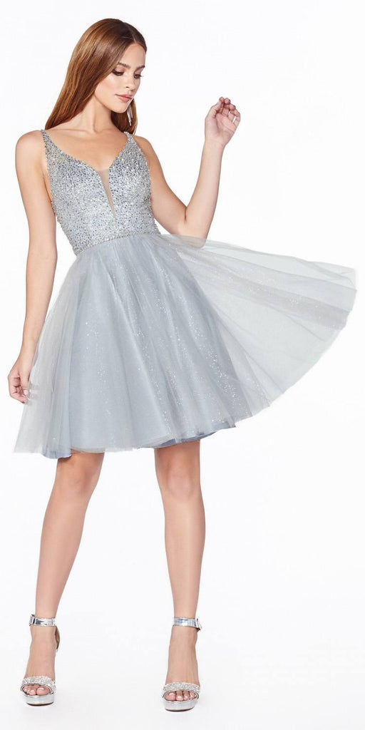 Embellished Bodice Silver Homecoming Short Dress