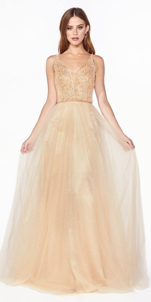 Glittery Long Prom Dress with V-Neck Champagne