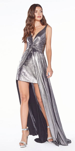Cinderella Divine CD0151 A-Line Metallic Dress Charcoal With Short Skirt Knotted Waist