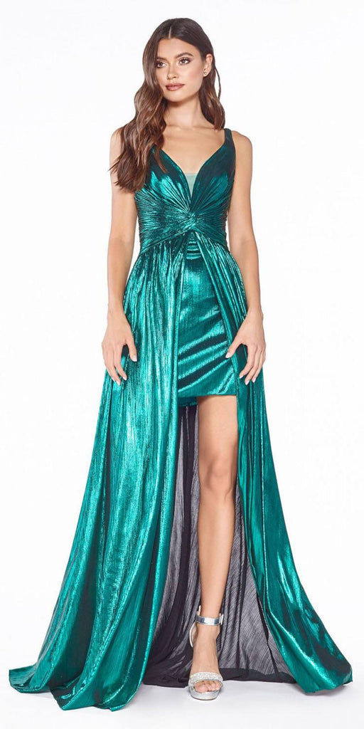 Cinderella Divine CD0151 A-Line Metallic Dress Emerald Green With Short Skirt Knotted Waist