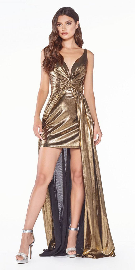 Cinderella Divine CD0151 A-Line Metallic Dress Gold With Short Skirt Knotted Waist
