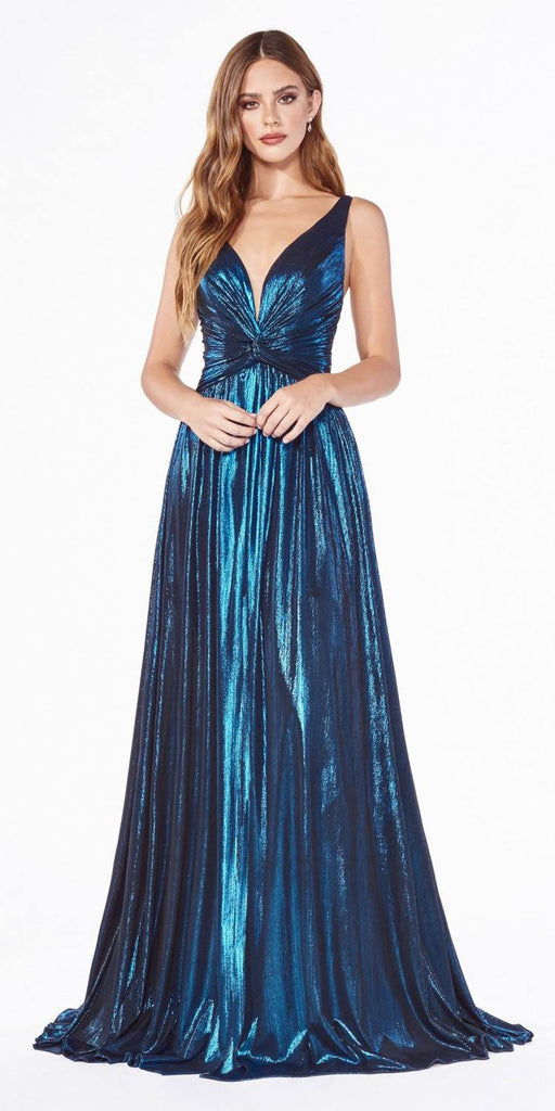 Cinderella Divine CD0151 A-Line Metallic Dress Peacock With Short Skirt Knotted Waist