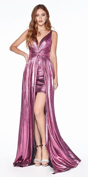 Cinderella Divine CD0151 A-Line Metallic Dress Rouge With Short Skirt Knotted Waist