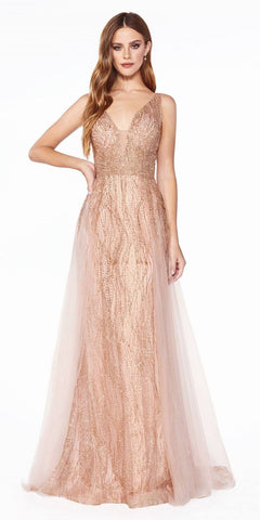 A-Line Tulle Prom Gown Gold Deep V-Neckline High Slit