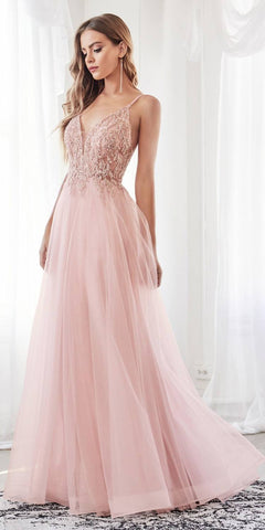 Cinderella Divine CD0154 Long A-Line Dress Blush Beaded Applique Bodice Layered Tulle Skirt