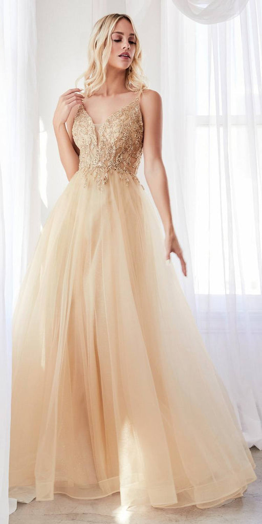 Cinderella Divine CD0154 Long A-Line Dress Champagne Beaded Applique Bodice Layered Tulle Skirt
