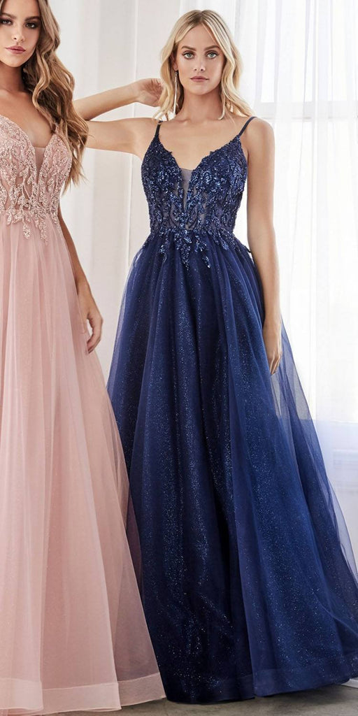 Cinderella Divine CD0154 Long A-Line Dress Navy Blue Beaded Applique Bodice Layered Tulle Skirt