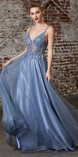 Cinderella Divine CD0154 Long A-Line Dress Smokey Blue Beaded Applique Bodice Layered Tulle Skirt