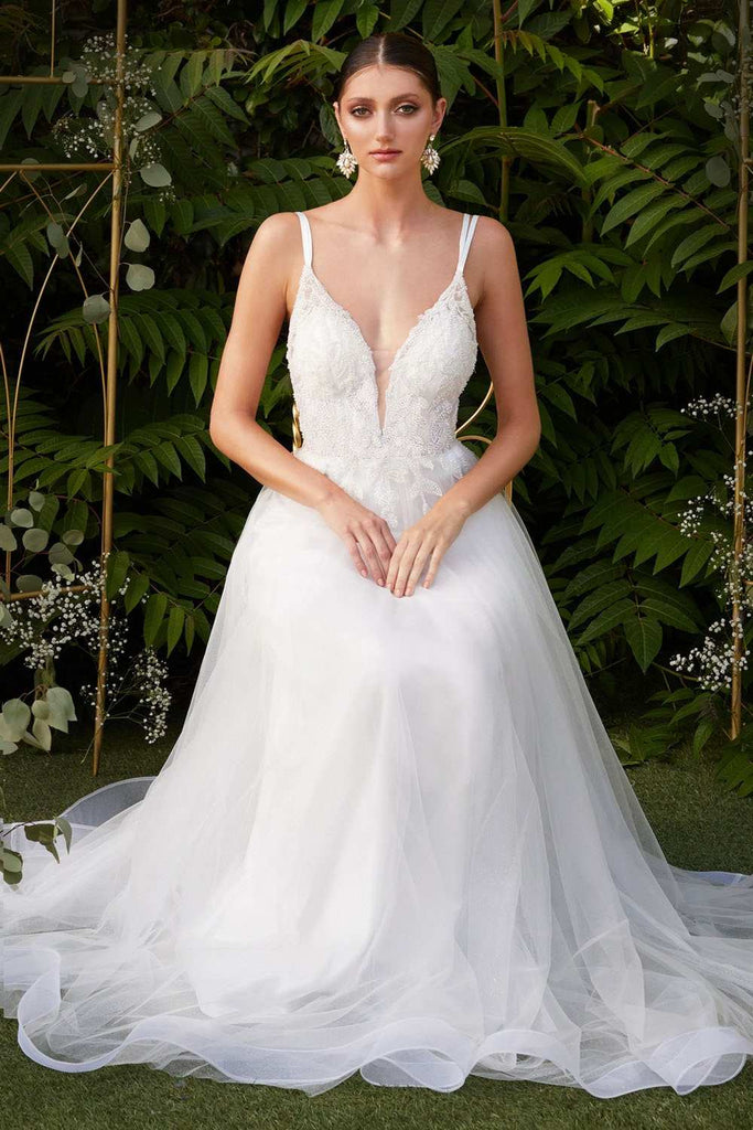 Cinderella Divine CD0154W Long A-Line Off-White Layered Tulle Dress With Beaded Applique Bodice