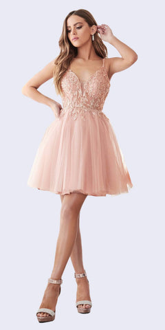 Tiered Homecoming Short Dress Blush with Spaghetti Strap