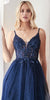 A-Line Short Gown Navy Blue Layered Tulle Skirt Embellished Lace Applique Bodice