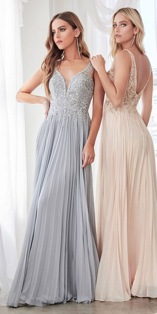 A-Line Pleated Chiffon Long Gown Champagne Lace Applique Bodice Open Back