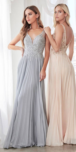A-Line Pleated Chiffon Long Gown Silver Lace Applique Bodice Open Back
