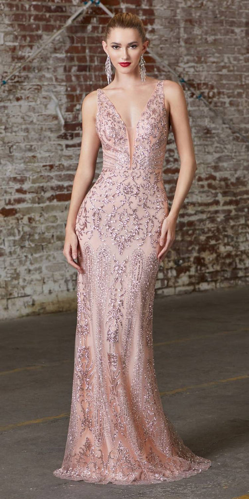 Cinderella Divine CD0161 Long Fitted Blush Gown Glitter Print Plunging V-Neckline