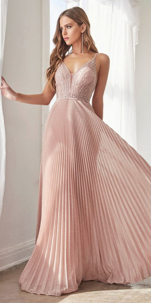 Cinderella Divine CD0162 Long A-Line Pleated Metallic Gown Dusty Rose Beaded Bodice Open Back