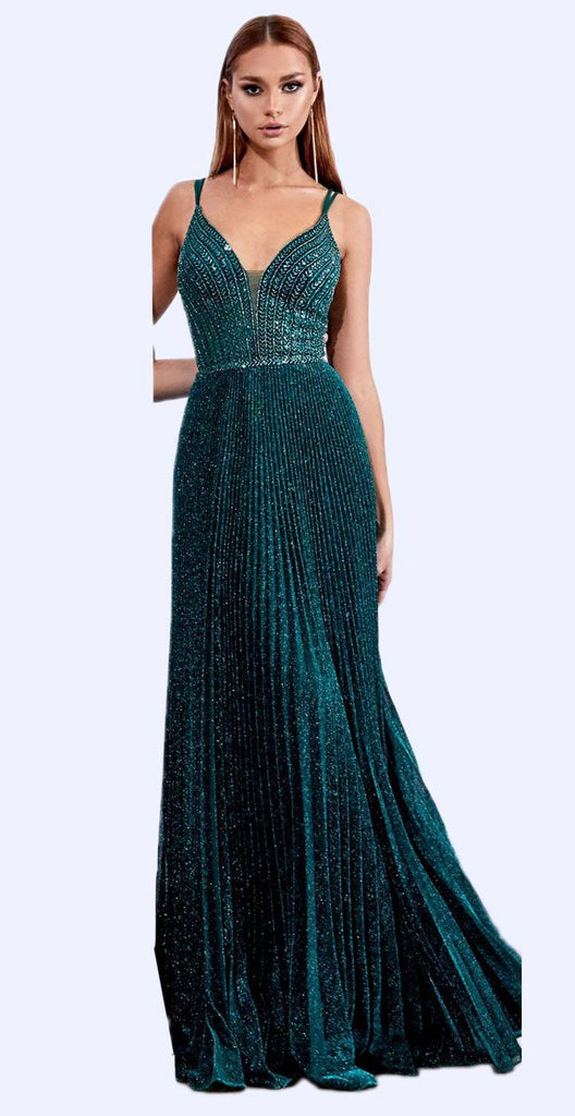Cinderella Divine CD0162 Long A-Line Pleated Metallic Gown Emerald Green Beaded Bodice Open Back