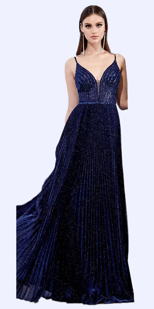 Cinderella Divine CD0162 Long A-Line Pleated Metallic Gown Navy Blue Beaded Bodice Open Back