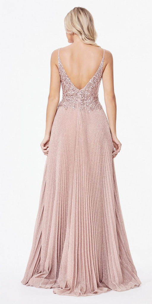 CInderella Divine CD0163 Long A-Line Pleated Dress Dusty Rose Lace Applique Bodice Open Back