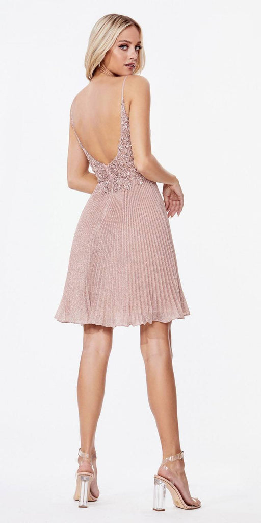 Short A-Line Cocktail Dress Dusty Rose Metallic Pleated Skirt Beaded Bodice