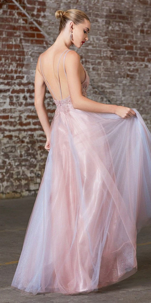 Cinderella Divine CD0164 Long A-Line Layered Dress Opal Blush Tulle Skirt Embellished Lace Applique Bodice
