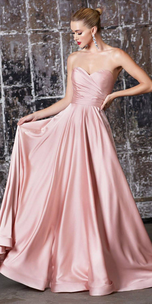 Cinderella Divine CD0165 Strapless Soft Satin Gown Blush Sweetheart Neckline Front Leg Slit