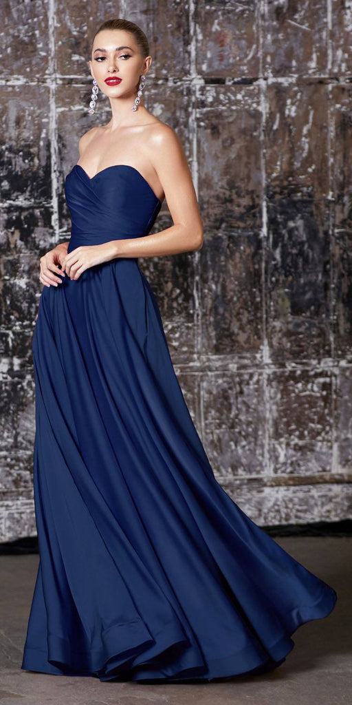 Cinderella Divine CD0165 Strapless Soft Satin Gown Navy Blue Sweetheart Neckline Front Leg Slit