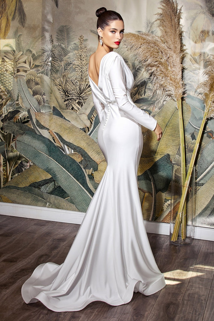Cinderella Divine CD0169 Floor Length Fitted Stretch Satin Off White Dress Long Sleeve