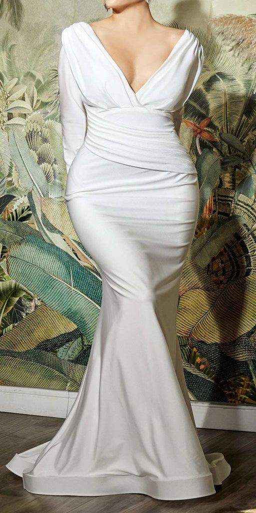 Cinderella Divine CD0169 Floor Length Fitted Stretch Satin Off White Dress Long Sleeve Plus Size