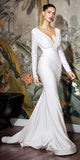 Floor Length Fitted Stretch Satin Off White Dress Long Sleeve