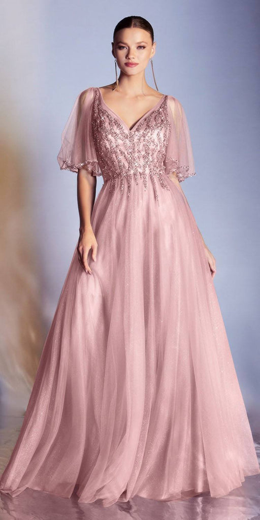 Cinderella Divine CD0175 Floor Length Layered Tulle A-Line Rose Gold Gown Butterfly Sleeve