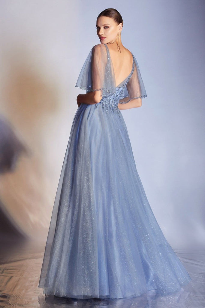 Cinderella Divine CD0175 Floor Length Layered Tulle A-Line Smokey Blue Gown Butterfly Sleeve
