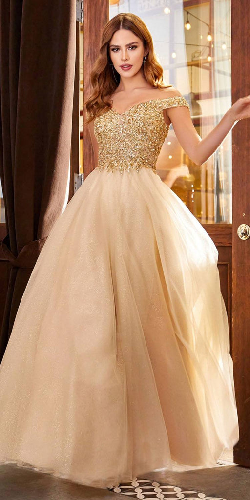 Cinderella Divine CD0177 Floor Length Glitter Tulle A-Line Champagne Ball Gown Off the Shoulder