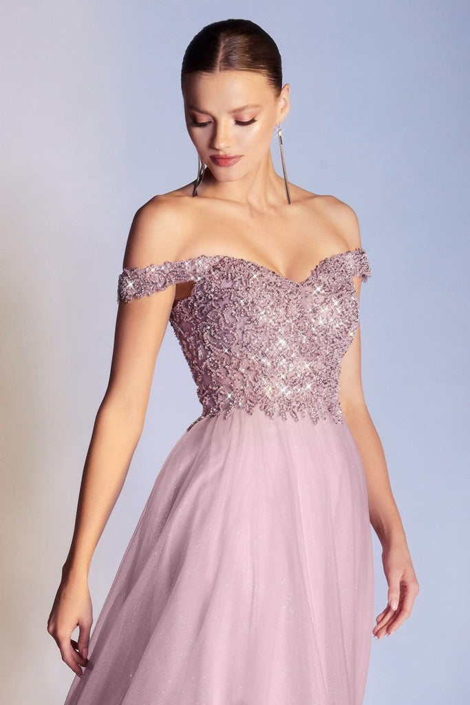 Cinderella Divine CD0177 Floor Length Glitter Tulle A-Line Mauve Ball Gown Off the Shoulder