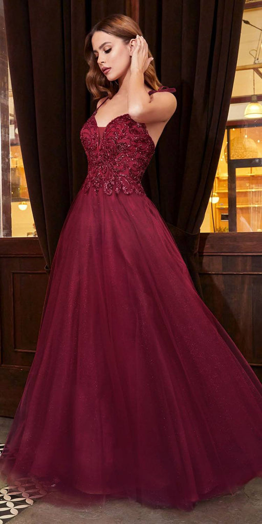 Cinderella Divine CD0178 Floor Length Glitter Tulle A-Line Burgundy Ball Gown Spaghetti Straps