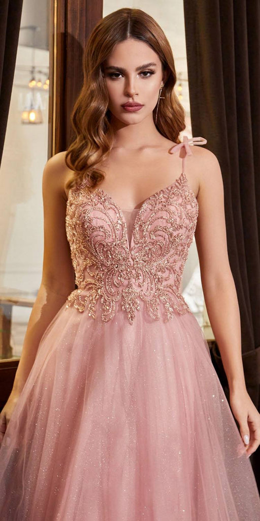 Cinderella Divine CD0178 Floor Length Glitter Tulle A-Line Rose Gold Ball Gown Spaghetti Straps
