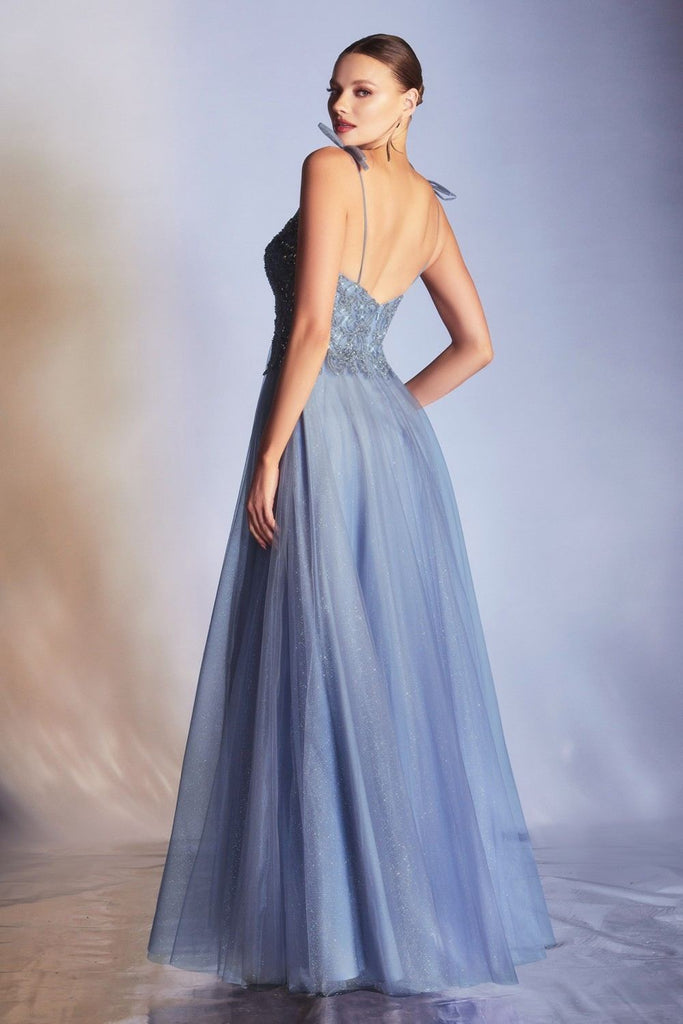 Cinderella Divine CD0178 Floor Length Glitter Tulle A-Line Smokey Blue Ball Gown Spaghetti Straps