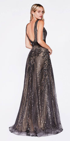 Sleeveless Sequins Prom Ball Gown Dark Silver