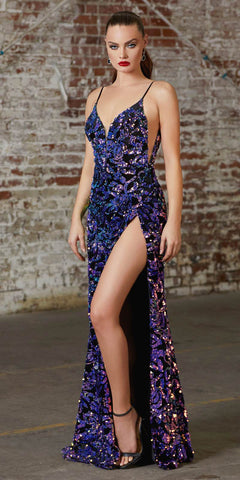 Cinderella Divine CD159 Long Fitted Sexy Sequin Gown High Leg Slit Iridescent Velvet Sequin Details