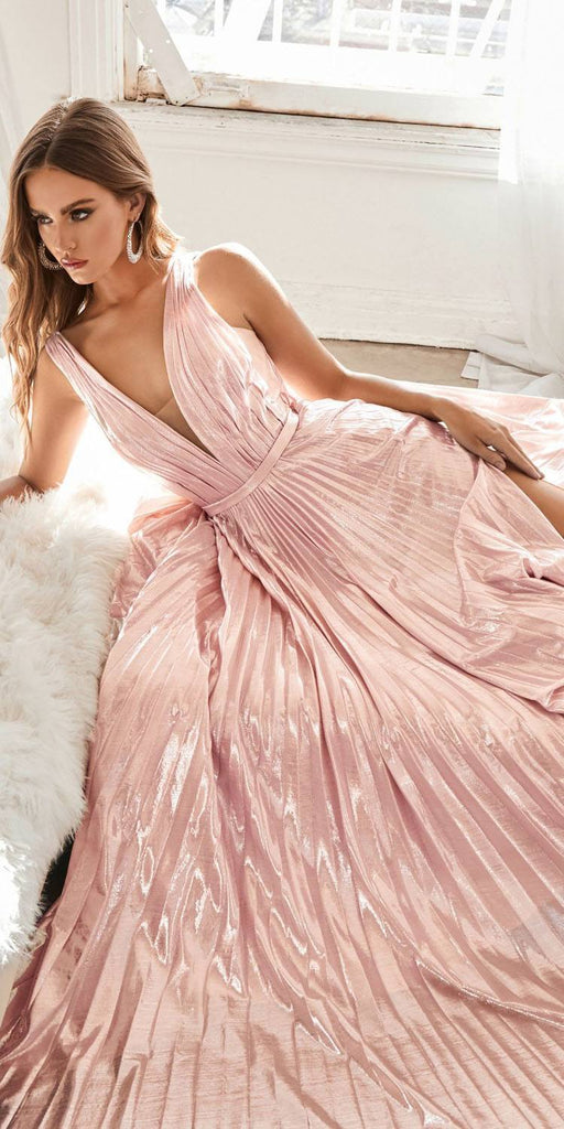 Long A-Line Metallic Pleated Gown Blush Deep V-Neckline And Leg Slit
