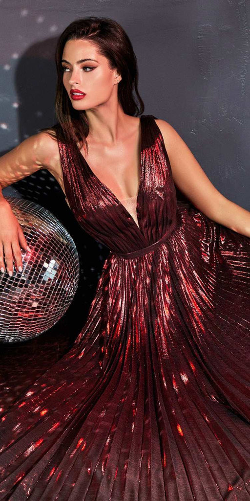 Floor Length Burgundy A-Line Metallic Pleated Dress V-Neckline Leg Slit