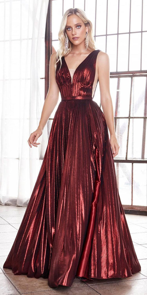 Long A-Line Metallic Pleated Gown Burgundy Deep V-Neckline And Leg Slit