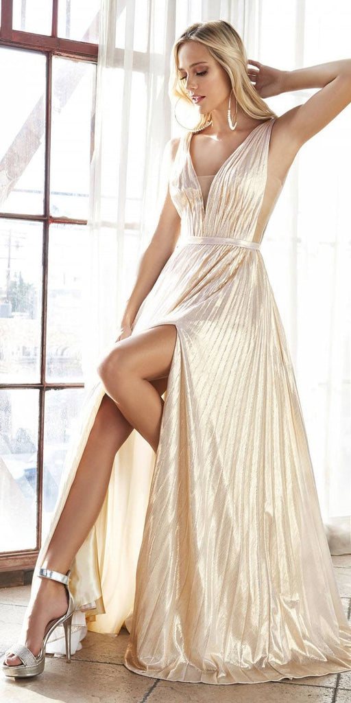 Long A-Line Metallic Pleated Gown Champagne Deep V-Neckline And Leg Slit