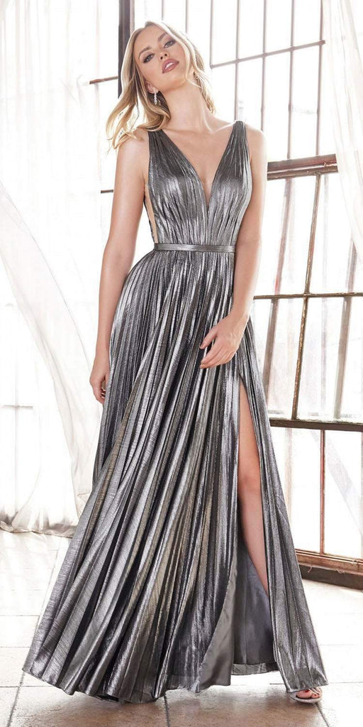 Long A-Line Metallic Pleated Gown Dark Silver Deep V-Neckline And Leg Slit