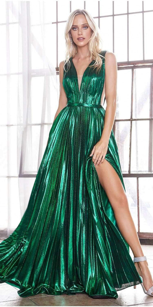 Long A-Line Metallic Pleated Gown Emerald Green Deep V-Neckline And Leg Slit
