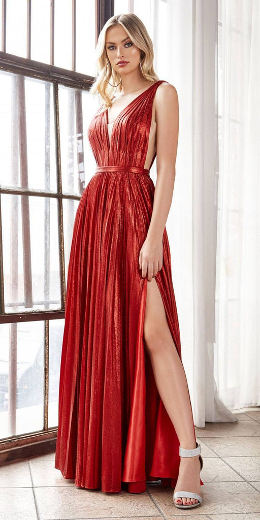 Long A-Line Metallic Pleated Gown Red Deep V-Neckline And Leg Slit