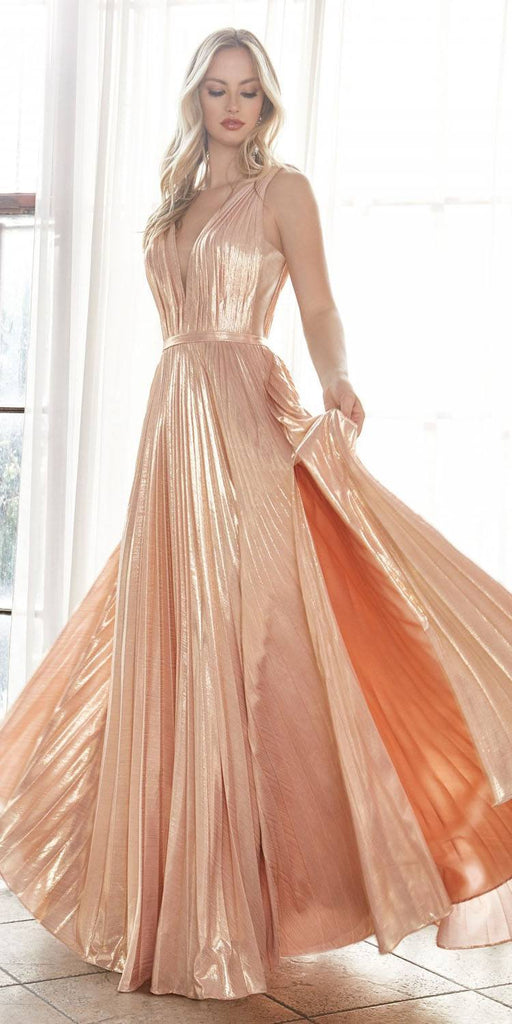 Long A-Line Metallic Pleated Gown Rose Gold Deep V-Neckline And Leg Slit