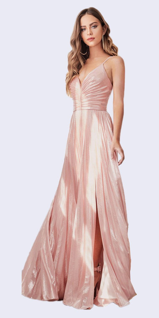 Ruched Bodice Metallic Long Prom Dress Blush