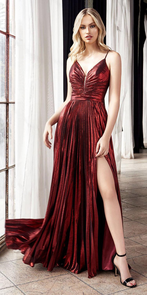 Ruched Bodice Metallic Long Prom Dress Burgundy