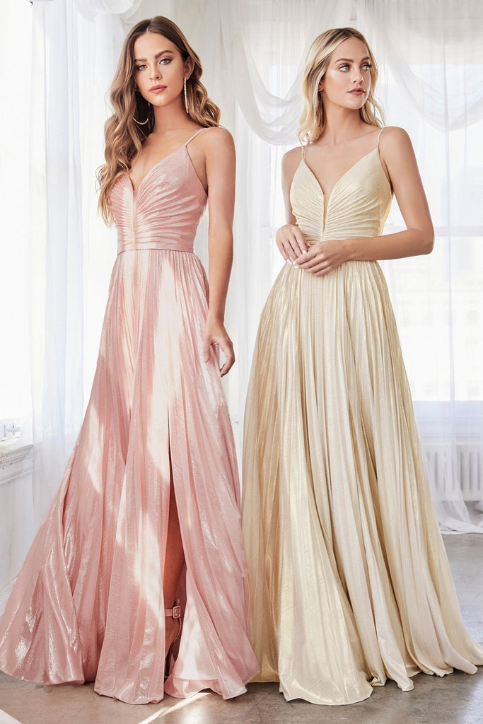 Ruched Bodice Metallic Long Prom Dress Champagne