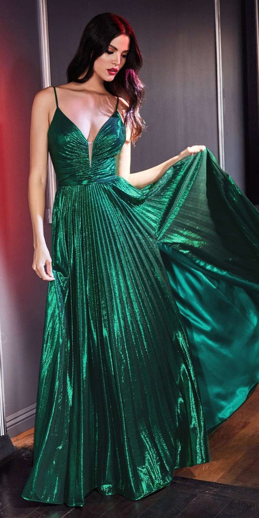 Cinderella Divine CD161 Ruched Bodice Metallic Long Prom Dress Emerald Green